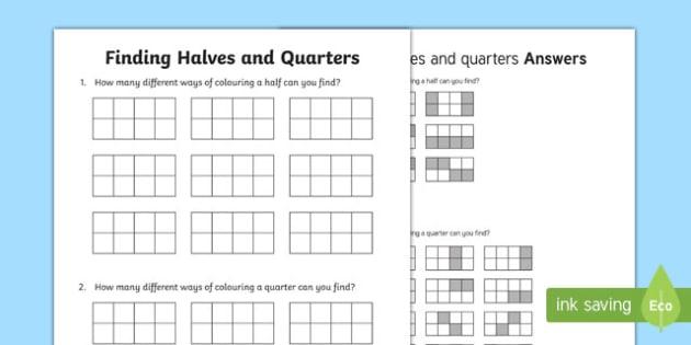 Finding halves and quarters Activity Sheet, worksheet