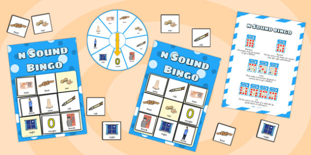 n Sound Bingo Game with Spinner - n, sound, sounds, bingo, game