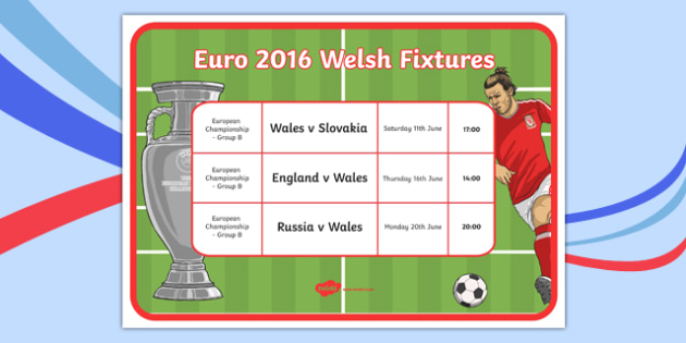 Euro 2016 Wales Fixtures Display Poster A4 Display Poster-Welsh