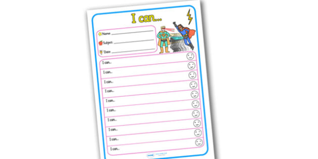 Themed Target and Achievement Sheets Superhero I Can - Target and Achievement Sheet, I Can Sheet, Target Sheet, Superhero Themed