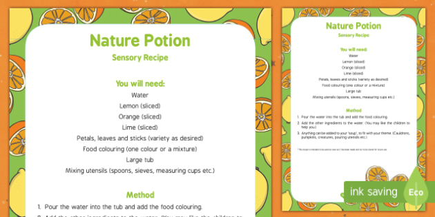 Nature Potion Edible Sensory Recipe