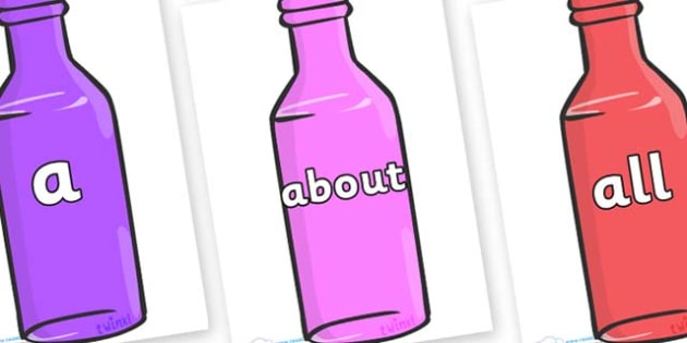 100 High Frequency Words on Bottles - High frequency words, hfw, DfES Letters and Sounds, Letters and Sounds, display words