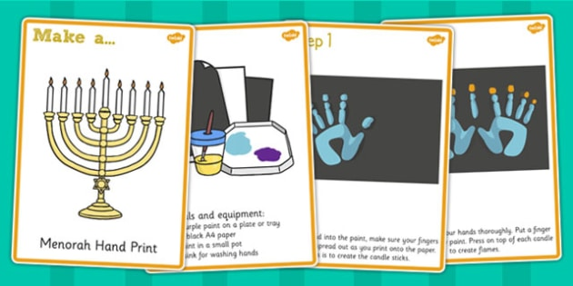 Menorah Hand Prints Craft Instructions - menorah, hand print