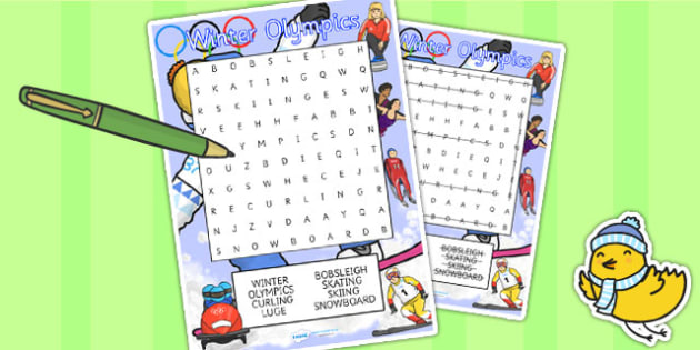 Winter Olympics Wordsearch - olympic, sport, winter, word search