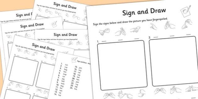 British Sign Language Left Hand Alphabet Sign and Draw Worksheet