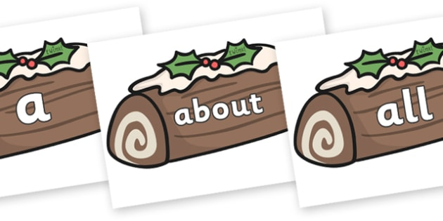 100 High Frequency Words on Christmas Logs - High frequency words, hfw, DfES Letters and Sounds, Letters and Sounds, display words