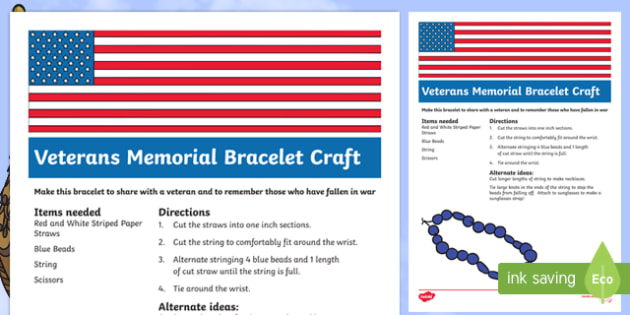 USA Veterans Day Bracelet Craft Instructions