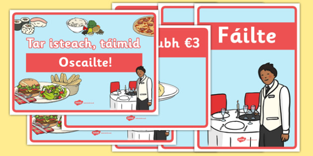 An Bhialann The Restaurant Role Play Posters Irish Gaeilge - restaurant, bialann, an bhialann, food, bia, role play, Aistear, menu, display, resource pack, irish, gaeilge, comhra, posters