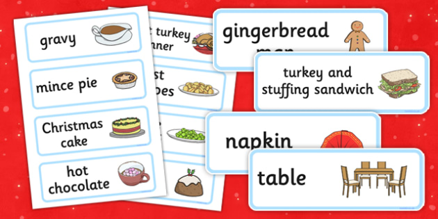 Christmas Cafe Role Play Labels - christmas caf
