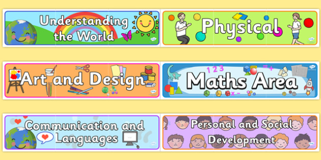 EYFS Learning Areas Display Banners Pack - EYFS, learning areas, display banners, banners pack, display pack, learning areas banners, learning area display