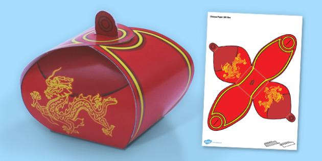 Chinese Gift Box Net Template - chinese, paper, gift, box, craft, model