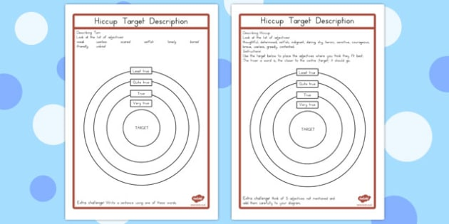 How to Train Your Dragon Target Description Activity Sheets - australia, worksheet