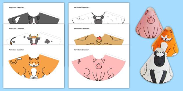 Farm Animal Cone Characters - farm, animal, cone, character