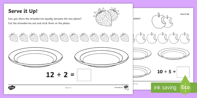 Serve It Up! Activity Sheets - Year 1, Maths Mastery, multiplication, multiply, times, lots of, product, divide, division, share, e