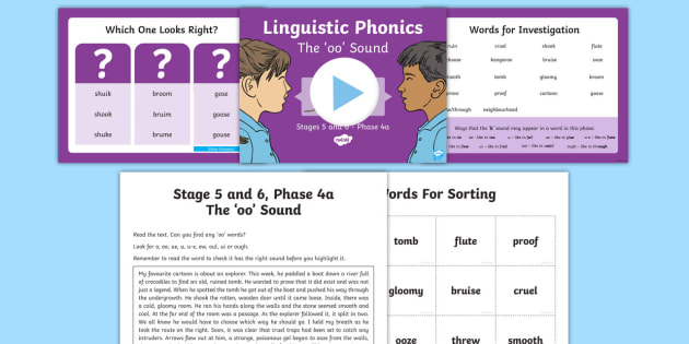 Northern Ireland Linguistic Phonics Stage 5 and 6 Phase 4a 'oo' Sound PowerPoint  - NI, sound search, word sort, investigation