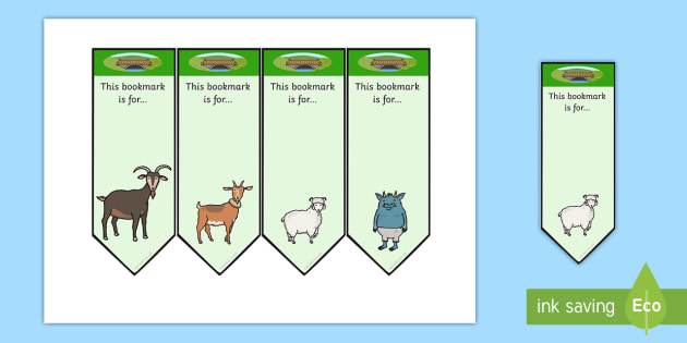 The Three Billy Goats Gruff Editable Bookmarks - bookmarks, edit