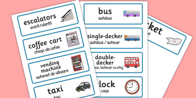 Bus Station Role Play Word Cards Romanian Translation - romanian