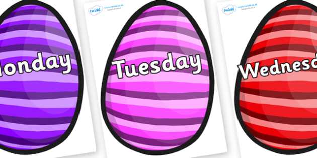 Days of the Week on Easter Eggs (Stripes) - Days of the Week, Weeks poster, week, display, poster, frieze, Days, Day, Monday, Tuesday, Wednesday, Thursday, Friday, Saturday, Sunday