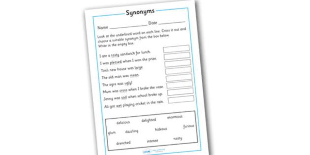Replacing Synonyms Worksheet - replacing synonyms worksheet, worksheet, synonym, synonyms, the same, syn, similar, same, meaning