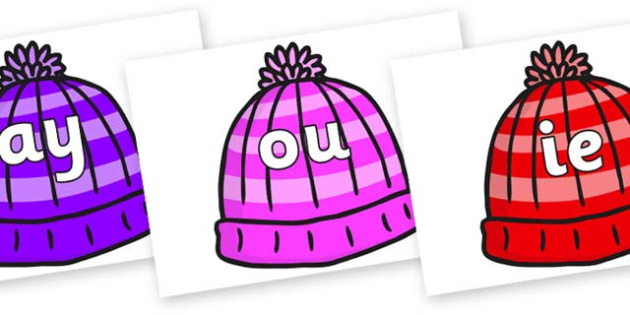Phase 5 Phonemes on Woolly Hats - Phonemes, phoneme, Phase 5, Phase five, Foundation, Literacy, Letters and Sounds, DfES, display