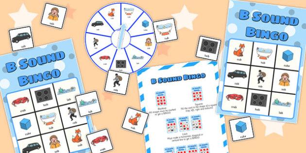 Final 'B' Sound Spinner Bingo - final b, sound, spinner bingo