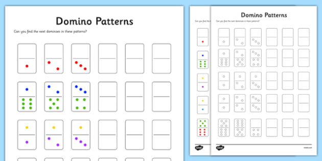 Y1 Domino Patterns Activity Sheet, worksheet