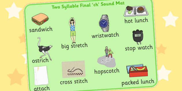 Two Syllable Final Ch Sound Word Mat 2 - final ch, sound, word