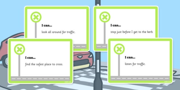 Road Safety I Can Cards - I can, cards, road safety, road, safe