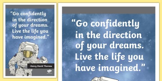 Thoreau Inspirational Classroom Quote Display Poster - usa, america, inspirational quote, display, motivation, inspiration, Thoreau