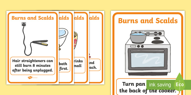 Scalds and Burns Safety Posters - safety, burn, burns, home safety, safe thinking, display Words, display, summer, hair, straighteners, pans, hot, scold, lighter