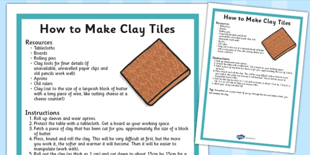 Step by Step Instructions: How to Make Clay Tiles - clay, instructions, step by step, activity