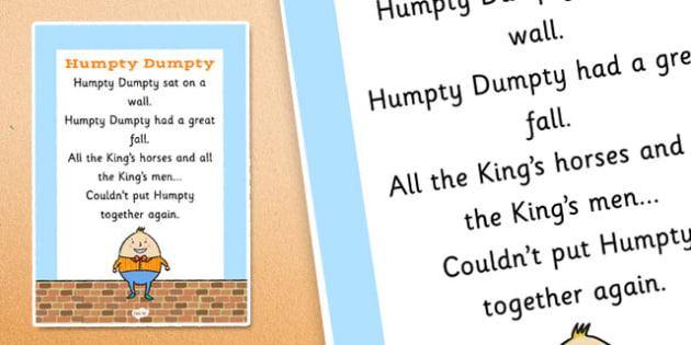 Humpty Dumpty Nursery Rhyme Poster - rhymes, display, poems, song