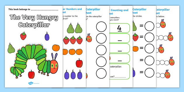 Maths Booklet to Support Teaching on The Very Hungry Caterpillar - the Very Hungry Caterpillar, Eric Carle, numbers, counting, patterns, numeracy booklet, resources, Hungry Caterpillar, life cycle of a butterfly, days of the week, food, fruit, story,