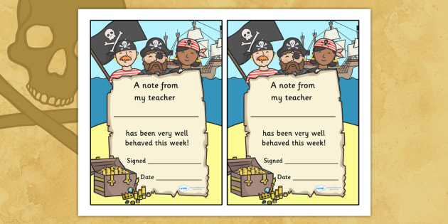 Note From Teacher Well Behaved This Week (Pirate Themed) - note from teacher well behaved this week, well behaved this week, note from teacher, notes, praise, comment, note, teacher, teacher's, parents, well behaved, this week, pirate themed, pirates