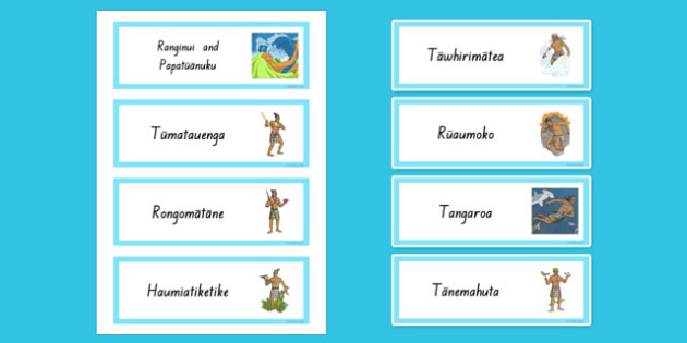 Maori Gods Word Cards - nz, new zealand, Maori Gods, word cards, vocabulary, display