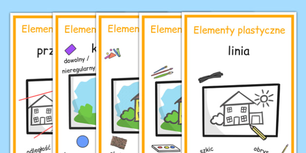 Plakaty Elementy plastyczne po polsku - sztuka, plastyka - Polish, Poland, EAL, art, art and design, design, line, colour, texture, shape, form, space, value, tone, size, vocabulary