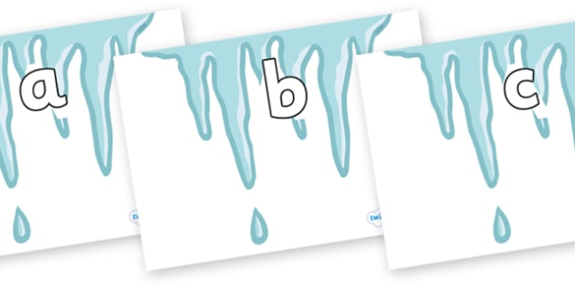 Phase 2 Phonemes on Icicles - Phonemes, phoneme, Phase 2, Phase two, Foundation, Literacy, Letters and Sounds, DfES, display