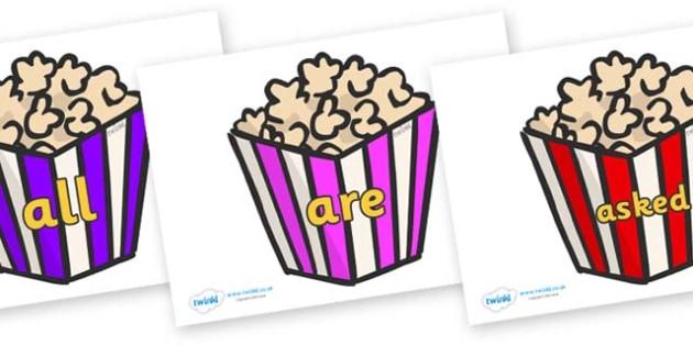 Tricky Words on Popcorn - Tricky words, DfES Letters and Sounds, Letters and sounds, display, words