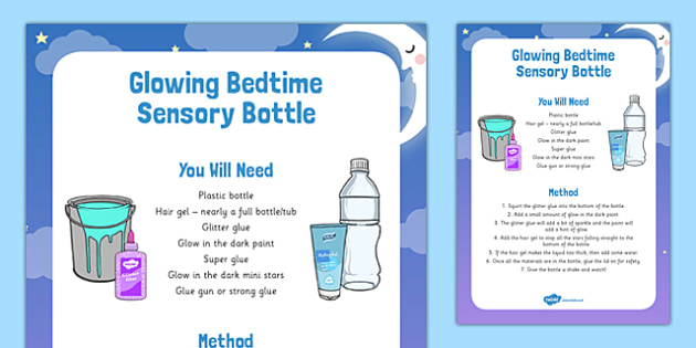 Glowing Bedtime Sensory Bottle - glowing, bedtime, dream jar, BFG, sensory bottle, eyfs, early years