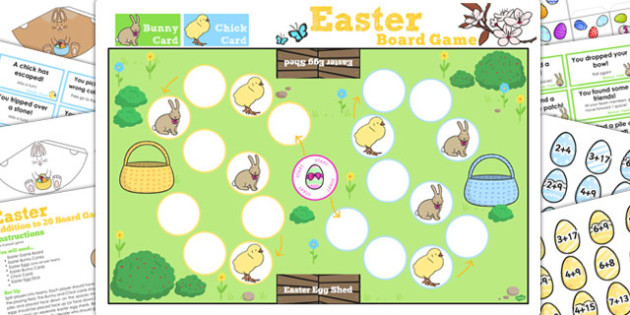 Addition Up to 20 Easter Bunny Hop Board Game - activities, games