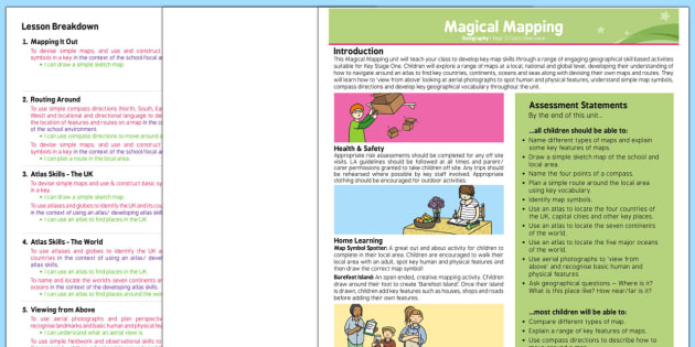 PlanIt - Geography Year 2 - Magical Mapping Planning Overview - map, map skills, map work, compass, route, atlas, aerial view, globe