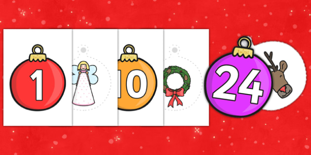 Make You Own Advent Baubles (A4, 1-25) - make your own advent baubles, advent baubles, advent, christmas, xmas, santa, tree, presents, snow man, A4, 1-25, make your own, how to make, creative, activity