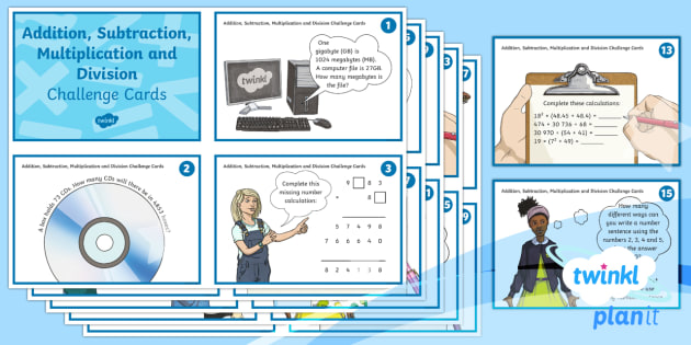 PlanIt Y6 Addition, Subtraction, Multiplication and Division Challenge Cards - add, subtract, multiply, divide, problem solving, reasoning skills, maths mastery, sats practise, sa