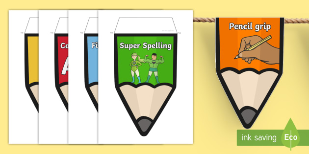 Pencil Bunting - pencil, bunting, display, classroom, string