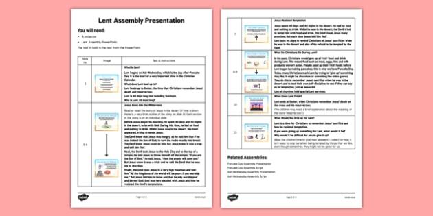 Lent Assembly Script - Lent, Ash Wednesday, Assembly, script, easter