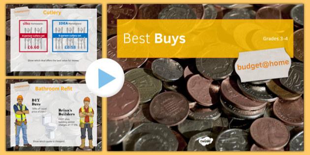 Budget at Home: Best Buys PowerPoint GCSE Grades 3-4 - KS3, KS4, GCSE, Maths, Finance, Budget, Home