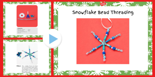 Snowflake Threading Craft Instructions PowerPoint - snowflake, threading, craft, instructions