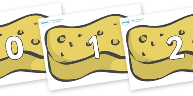 Numbers 0-31 on Sponges - 0-31, foundation stage numeracy, Number recognition, Number flashcards, counting, number frieze, Display numbers, number posters