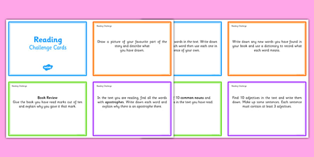 Guided Reading Challenge Cards - reading challenge cards, reading cards, reading prompt cards, guided reading, reading challenges, book comprehension aids