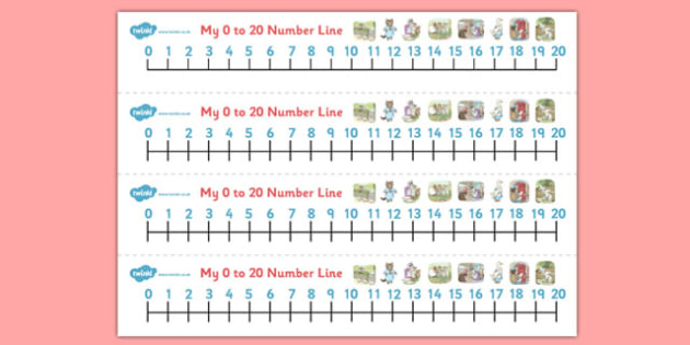 Beatrix Potter - The Tale of Tom Kitten Number Lines 0-20 - beatrix potter, tom kitten